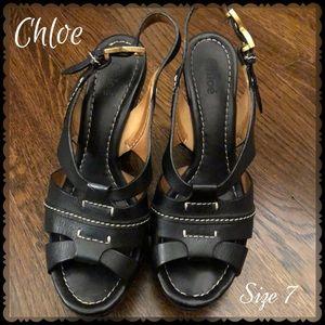 🆕🛍Chloe Black Leather Platform Wedges Size 7🌺